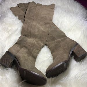 BCBGeneration Brown/Khaki Tall Suede Slouch Boots